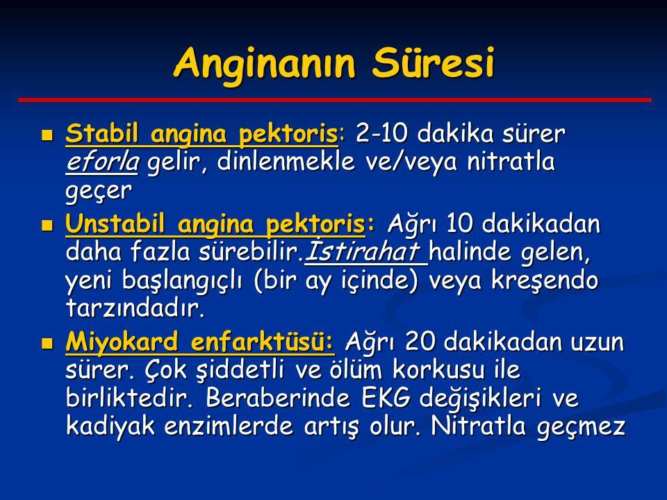 Anginanın Süresi Stabil angina pektoris: 2-10 dakika sürer eforla gelir, dinlenmekle ve/veya nitratla geçer.