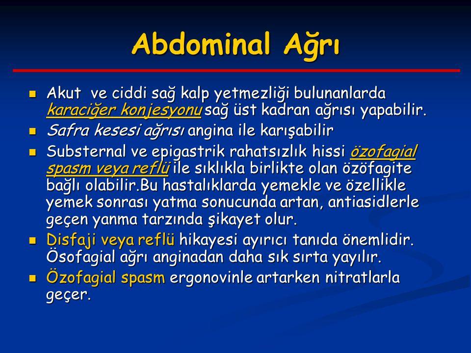 Abdominal Ağrı Akut ve ciddi sağ kalp yetmezliği bulunanlarda karaciğer konjesyonu sağ üst kadran ağrısı yapabilir.
