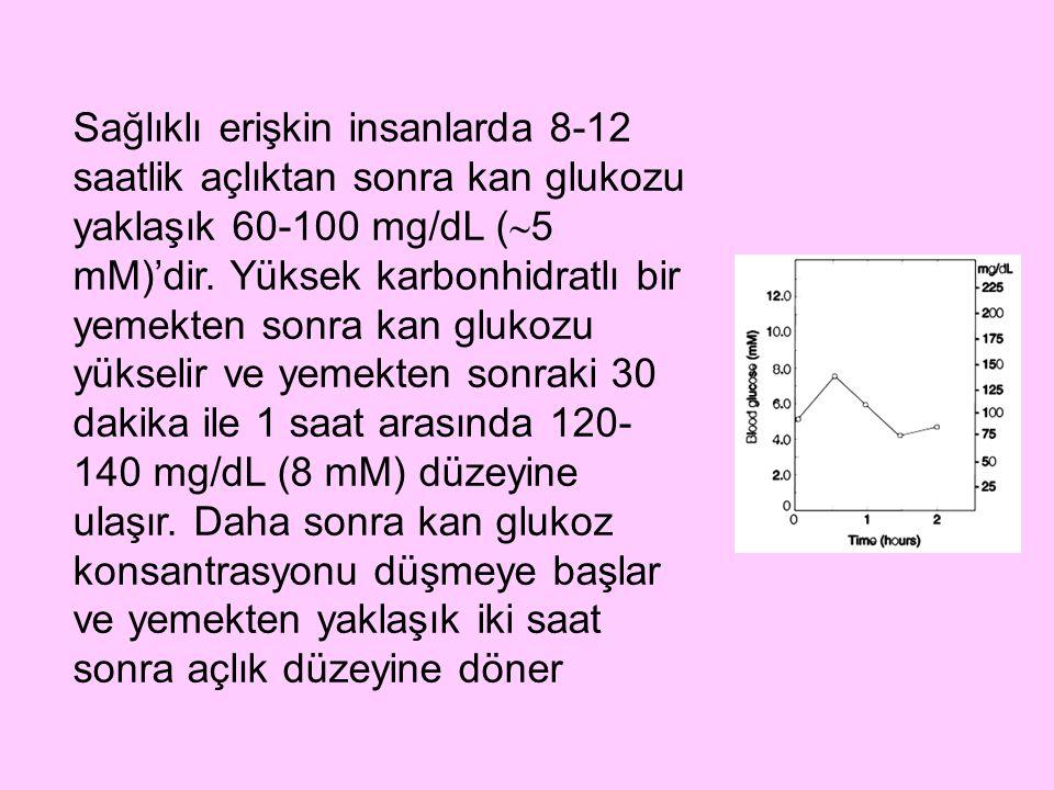 Sağlıklı erişkin insanlarda 8-12 saatlik açlıktan sonra kan glukozu yaklaşık 60-100 mg/dL (5 mM)'dir.