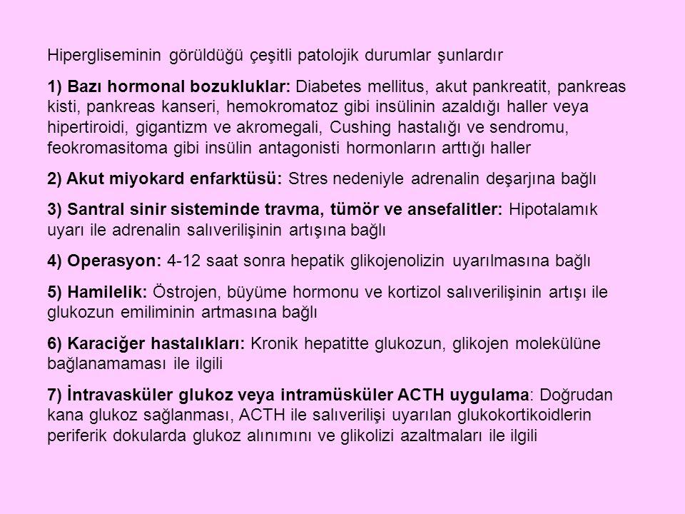 Hipergliseminin görüldüğü çeşitli patolojik durumlar şunlardır