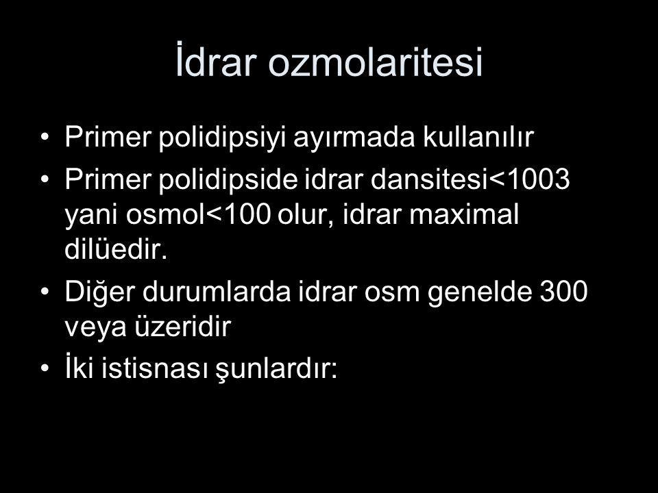 İdrar ozmolaritesi Primer polidipsiyi ayırmada kullanılır