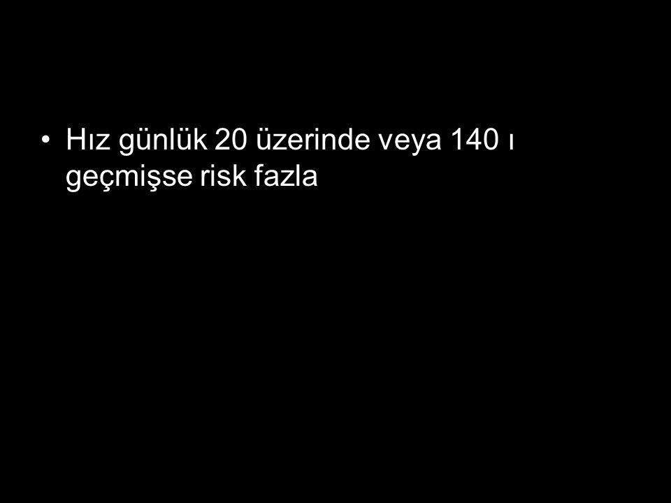 Hız günlük 20 üzerinde veya 140 ı geçmişse risk fazla
