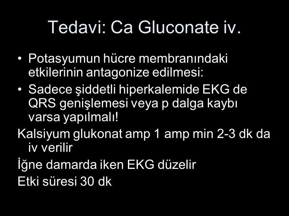Tedavi: Ca Gluconate iv.