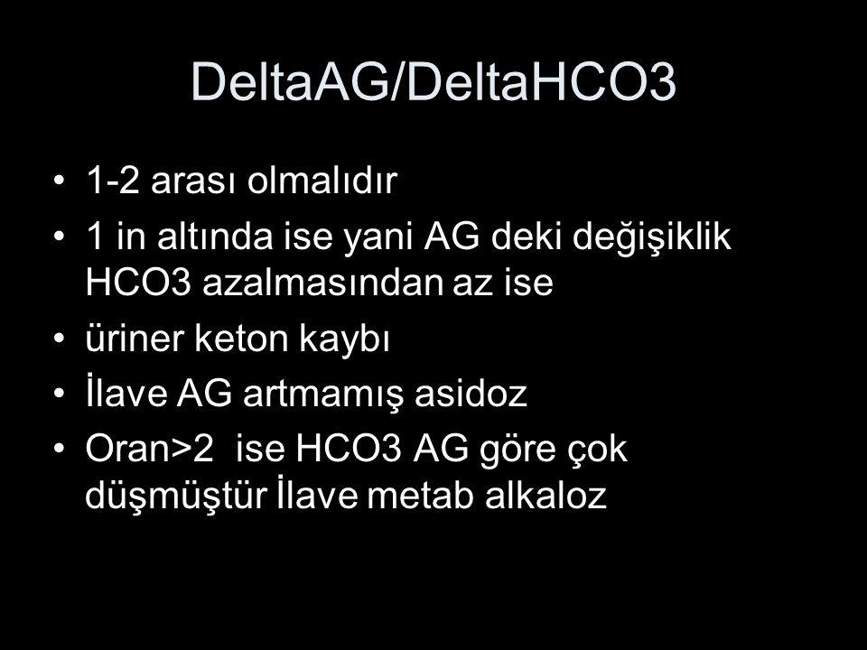 DeltaAG/DeltaHCO3 1-2 arası olmalıdır