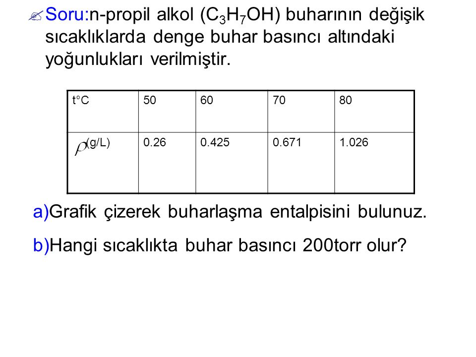 a)Grafik çizerek buharlaşma entalpisini bulunuz.