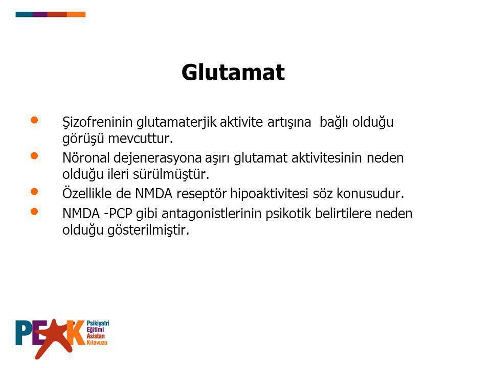 Glutamat Şizofreninin glutamaterjik aktivite artışına bağlı olduğu görüşü mevcuttur.
