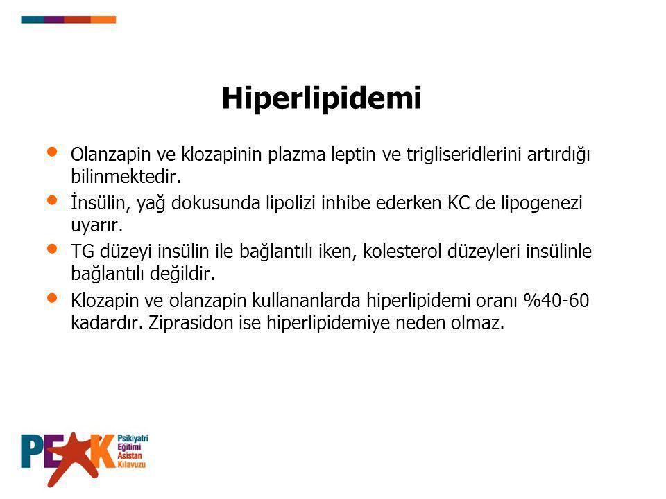 Hiperlipidemi Olanzapin ve klozapinin plazma leptin ve trigliseridlerini artırdığı bilinmektedir.