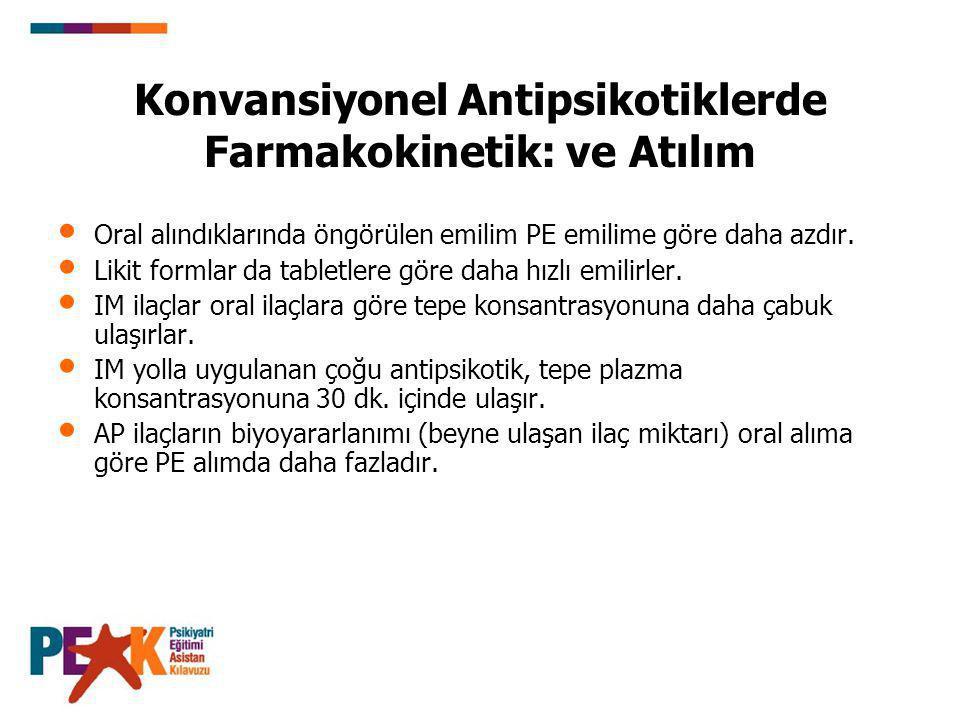 Konvansiyonel Antipsikotiklerde Farmakokinetik: ve Atılım