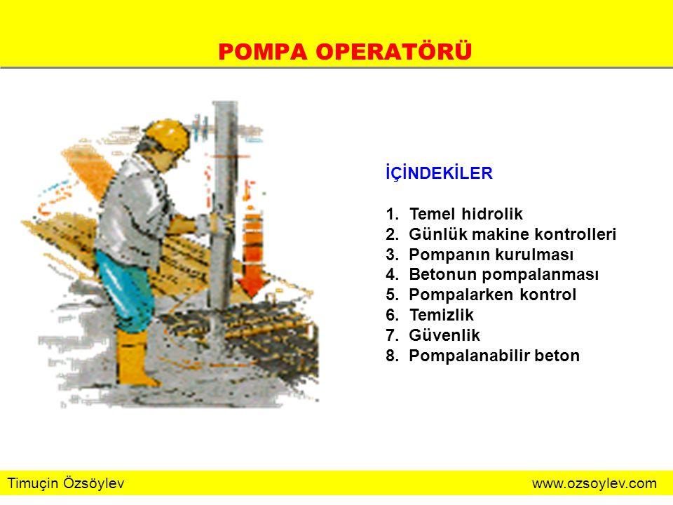 POMPA OPERATÖRÜ İÇİNDEKİLER 1. Temel hidrolik