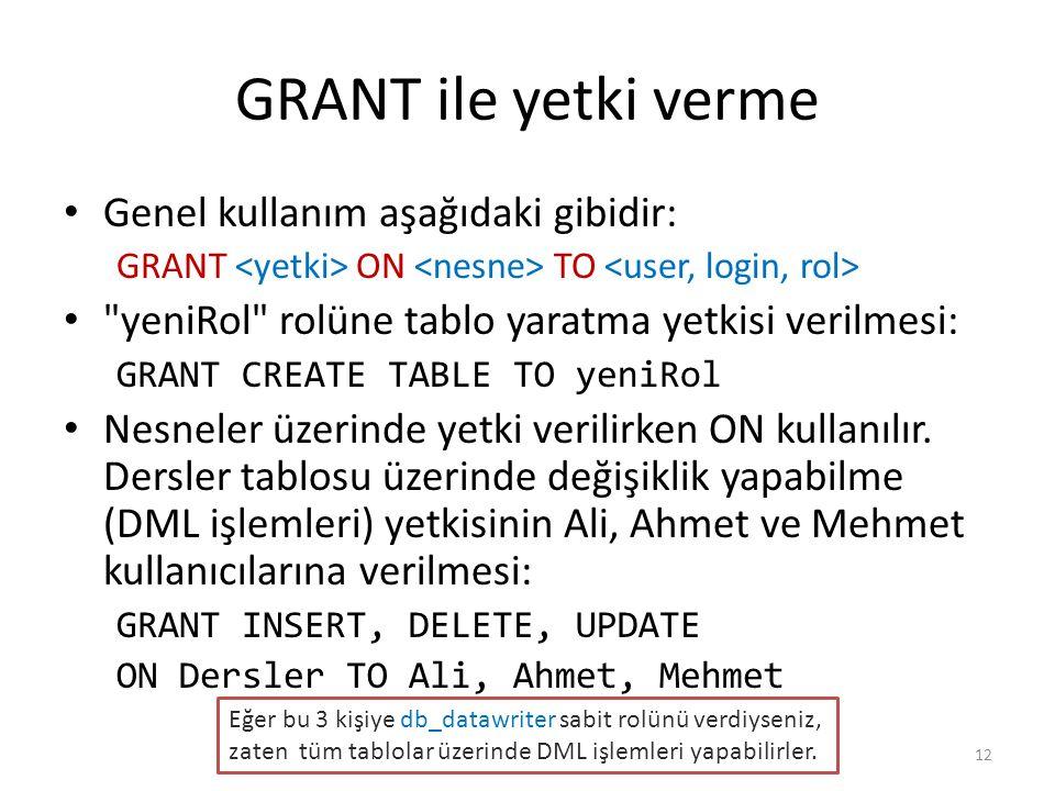 GRANT ile yetki verme Genel kullanım aşağıdaki gibidir: