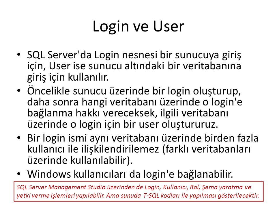 Login ve User SQL Server da Login nesnesi bir sunucuya giriş için, User ise sunucu altındaki bir veritabanına giriş için kullanılır.