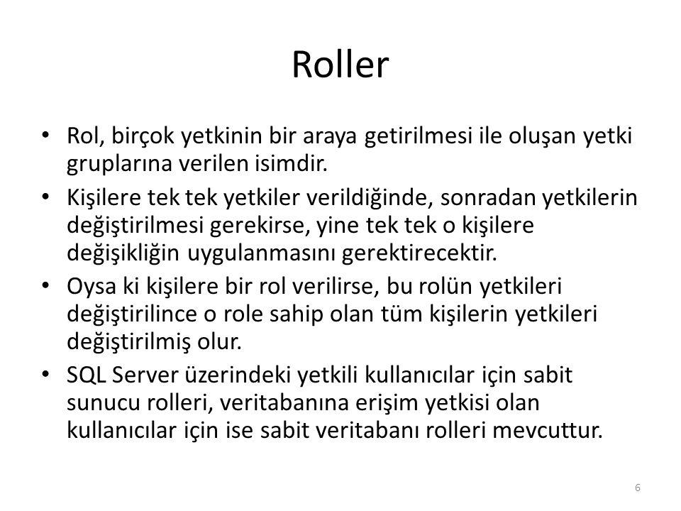 Roller Rol, birçok yetkinin bir araya getirilmesi ile oluşan yetki gruplarına verilen isimdir.