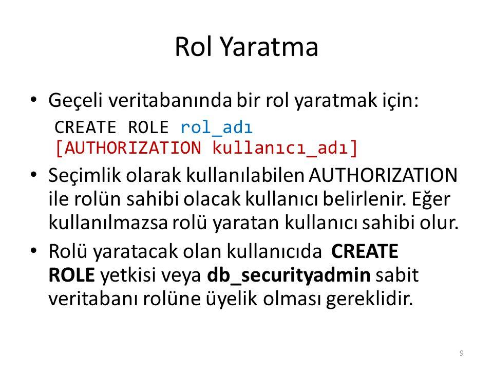 Rol Yaratma Geçeli veritabanında bir rol yaratmak için:
