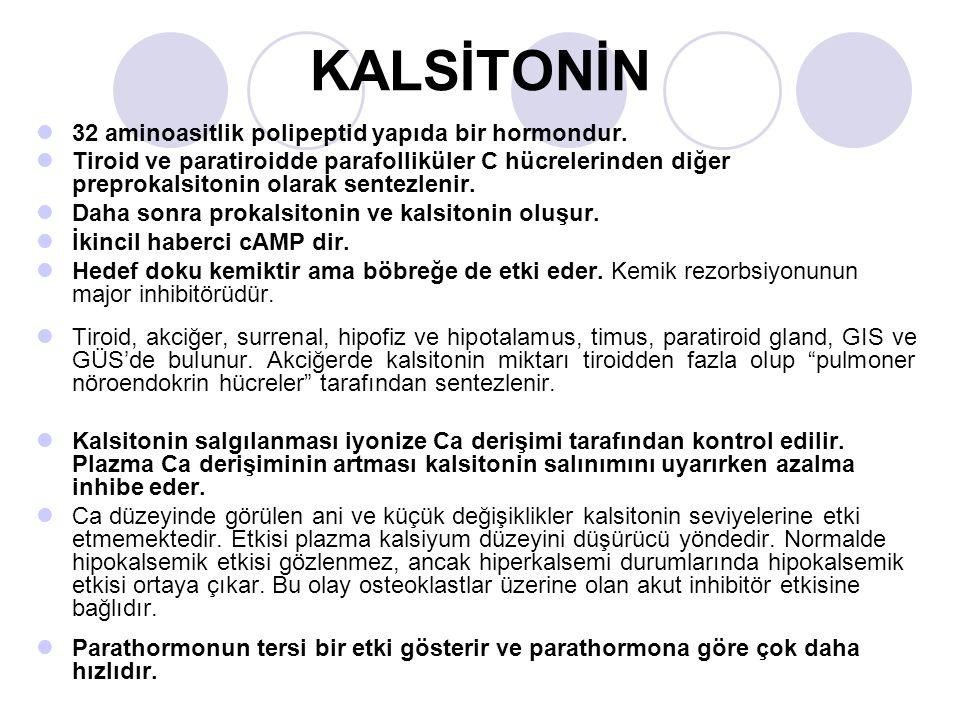 KALSİTONİN 32 aminoasitlik polipeptid yapıda bir hormondur.