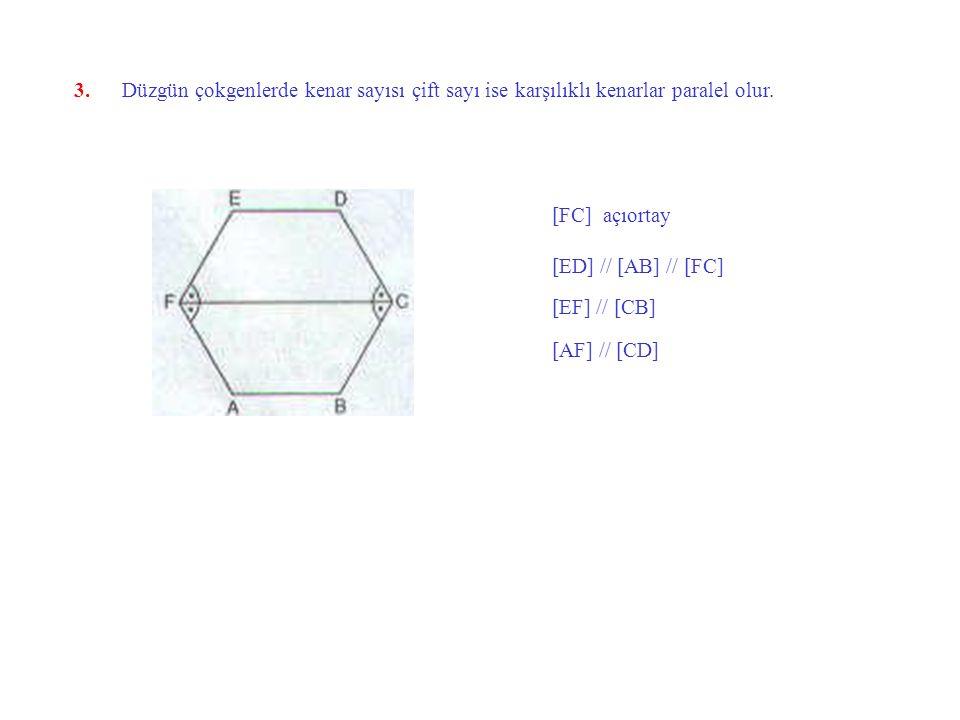 3. Düzgün çokgenlerde kenar sayısı çift sayı ise karşılıklı kenarlar paralel olur.