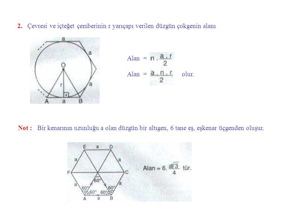 2. Çevresi ve içteğet çemberinin r yarıçapı verilen düzgün çokgenin alanı