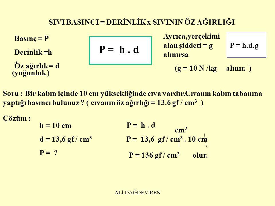 P = h . d SIVI BASINCI = DERİNLİK x SIVININ ÖZ AĞIRLIĞI