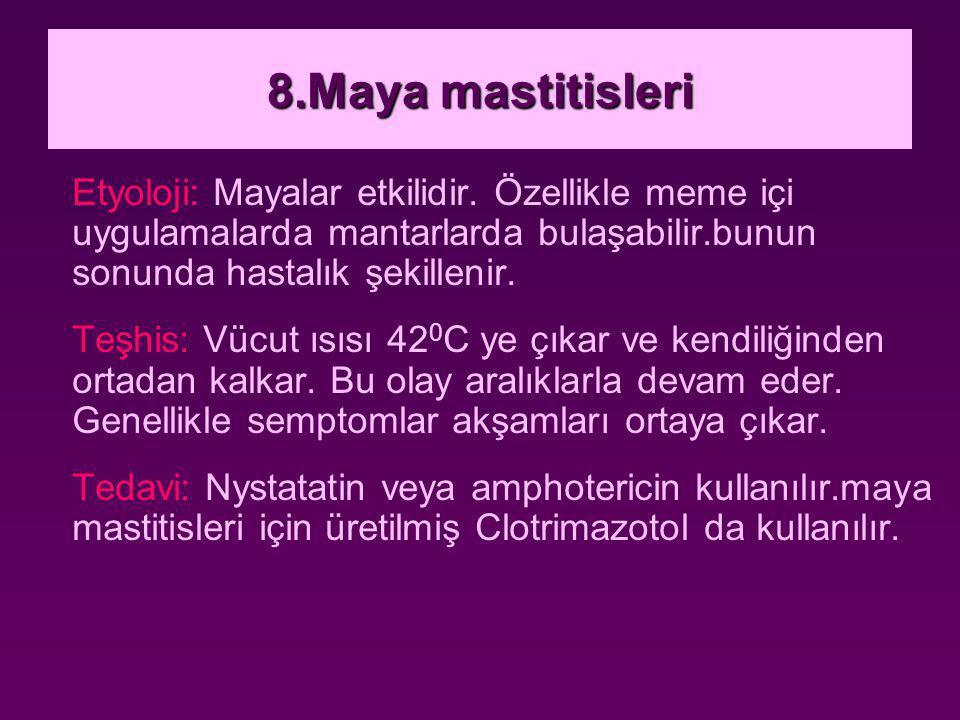 8.Maya mastitisleri Etyoloji: Mayalar etkilidir. Özellikle meme içi uygulamalarda mantarlarda bulaşabilir.bunun sonunda hastalık şekillenir.