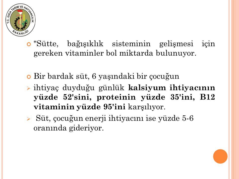 Sütte, bağışıklık sisteminin gelişmesi için gereken vitaminler bol miktarda bulunuyor.
