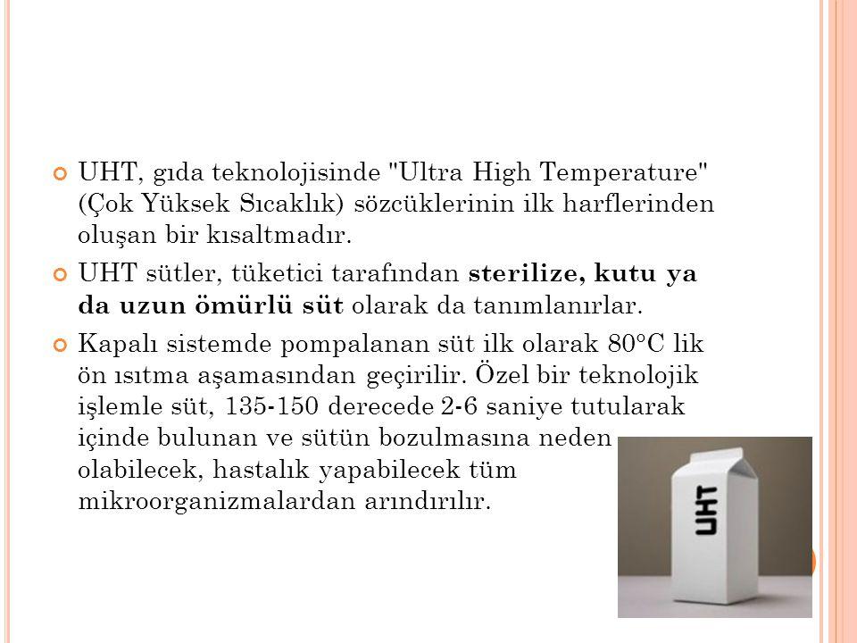 UHT, gıda teknolojisinde Ultra High Temperature (Çok Yüksek Sıcaklık) sözcüklerinin ilk harflerinden oluşan bir kısaltmadır.