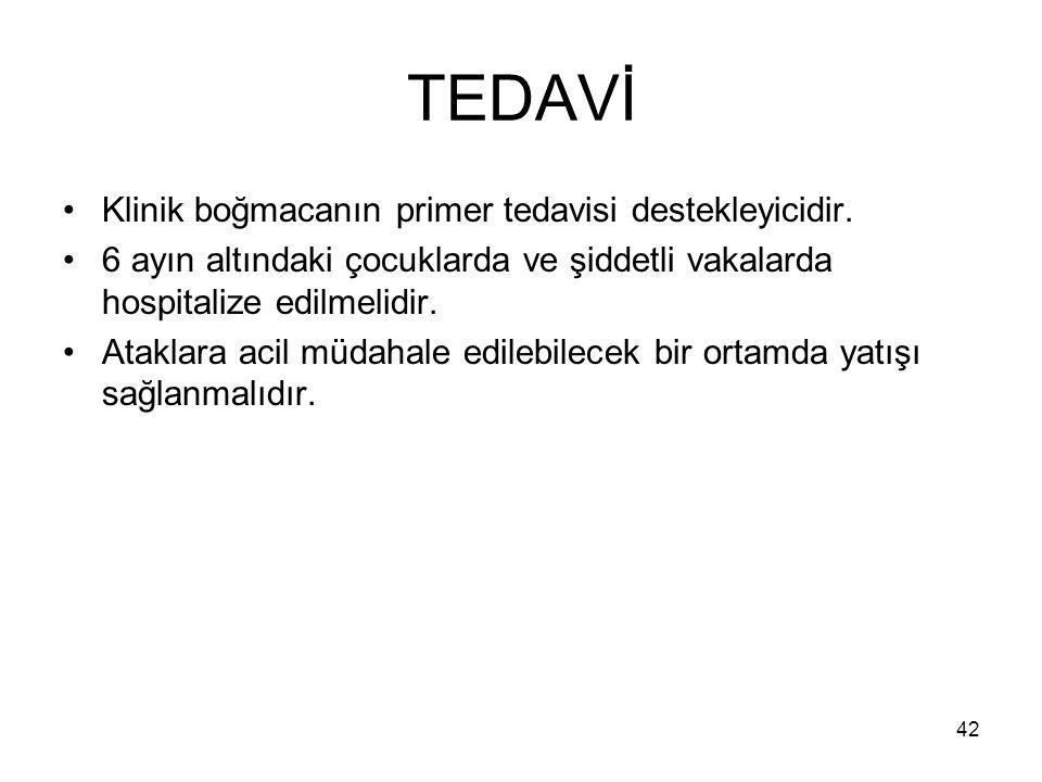 TEDAVİ Klinik boğmacanın primer tedavisi destekleyicidir.