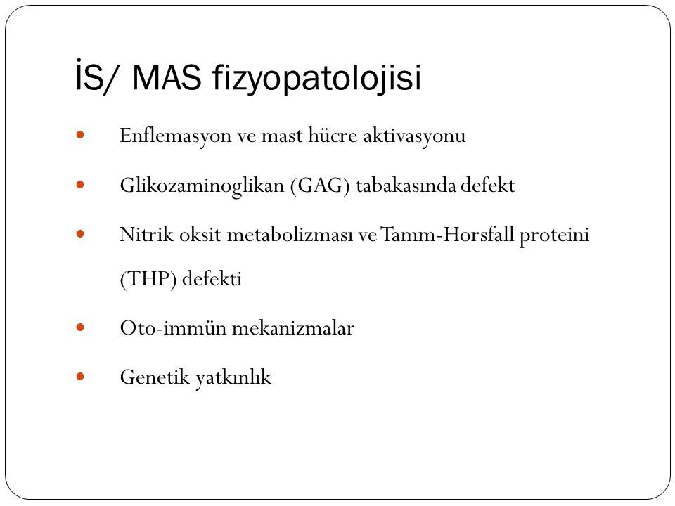 İS/ MAS fizyopatolojisi