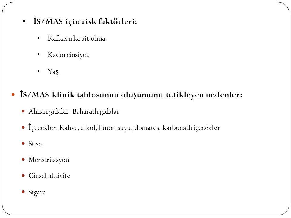İS/MAS için risk faktörleri: