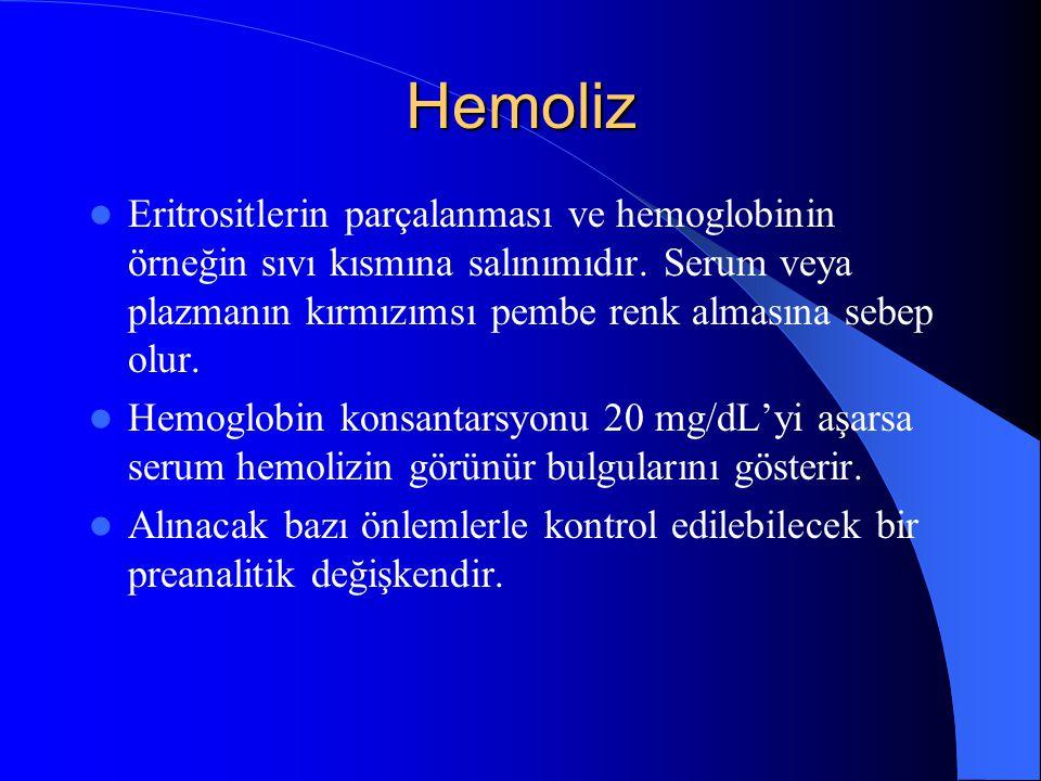 Hemoliz Eritrositlerin parçalanması ve hemoglobinin örneğin sıvı kısmına salınımıdır. Serum veya plazmanın kırmızımsı pembe renk almasına sebep olur.