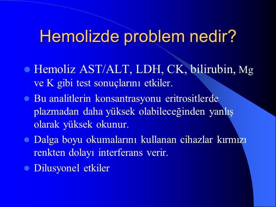 Hemolizde problem nedir