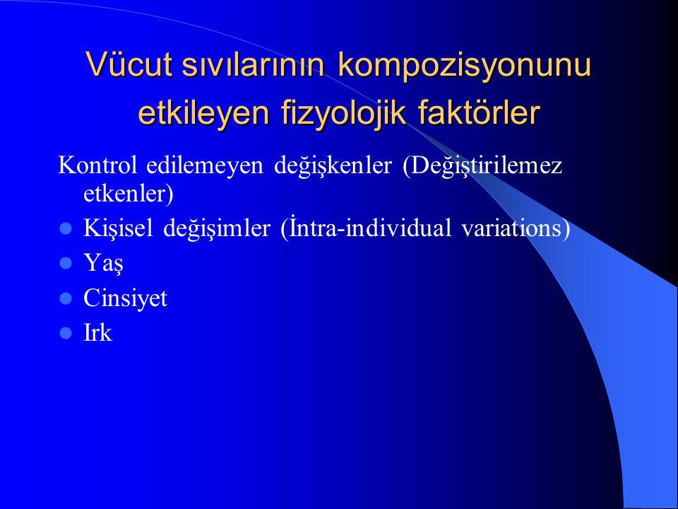 Vücut sıvılarının kompozisyonunu etkileyen fizyolojik faktörler