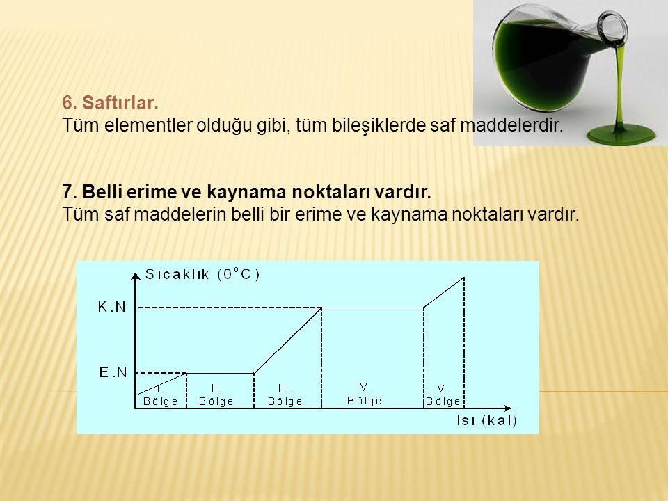 6. Saftırlar. Tüm elementler olduğu gibi, tüm bileşiklerde saf maddelerdir. 7. Belli erime ve kaynama noktaları vardır.