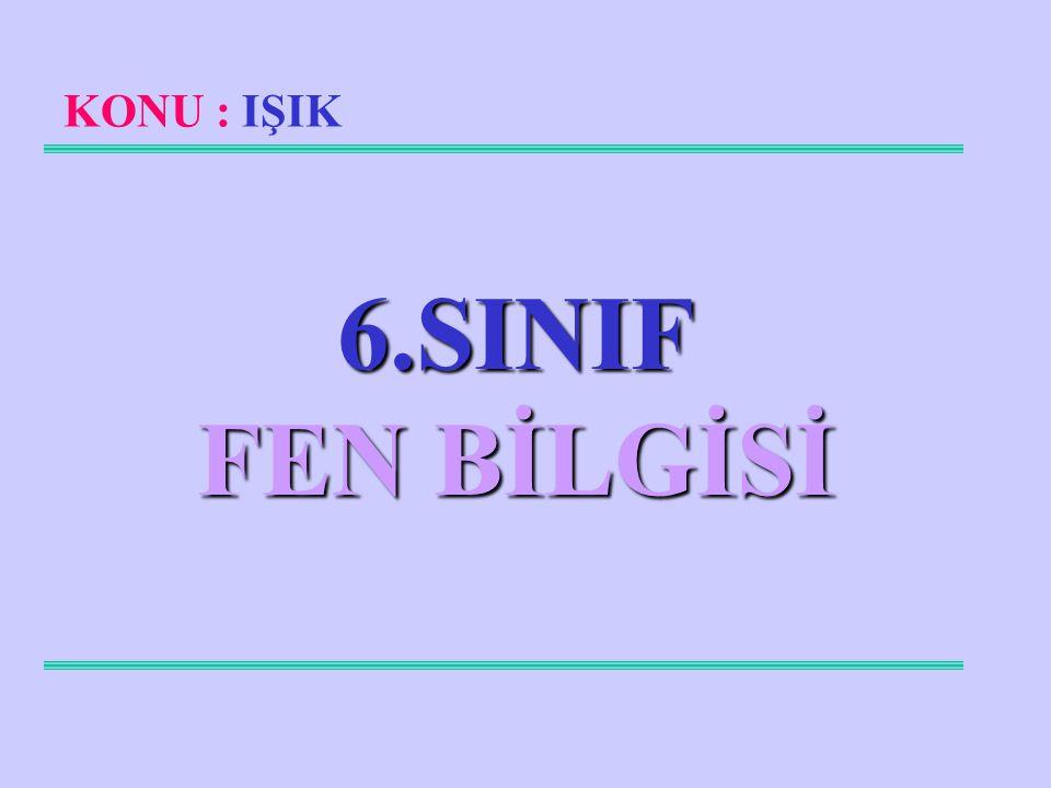 KONU : IŞIK 6.SINIF FEN BİLGİSİ