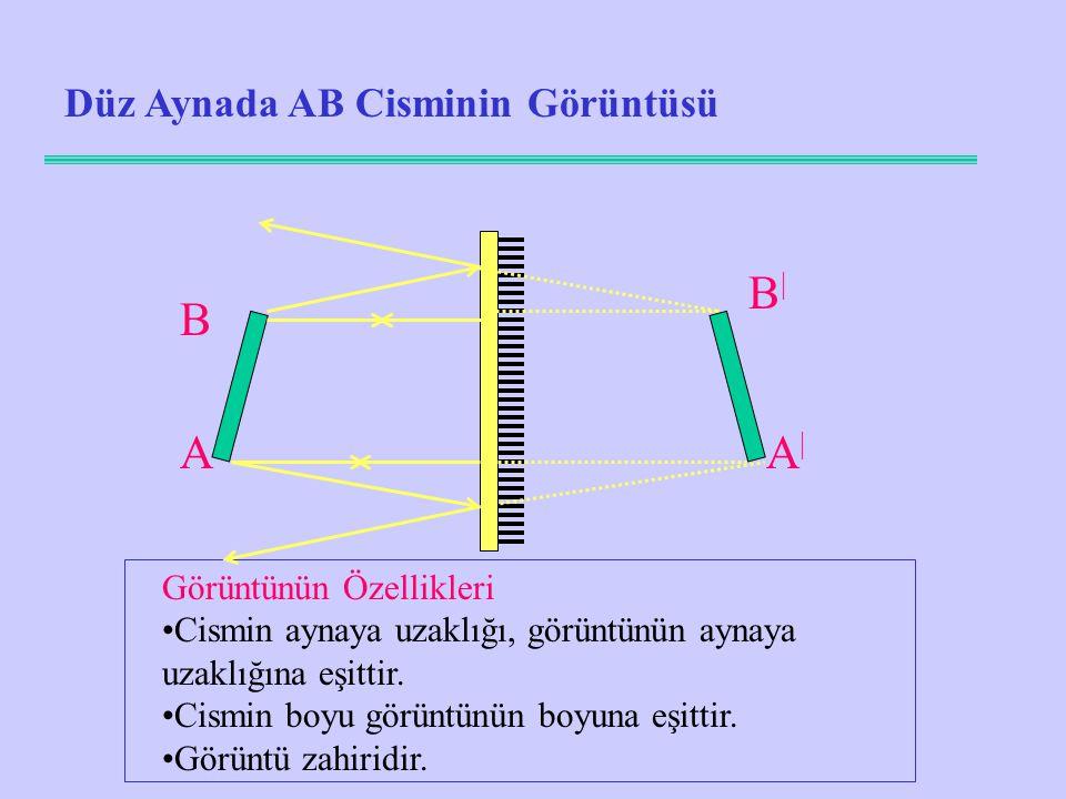 B| B A A| Düz Aynada AB Cisminin Görüntüsü Görüntünün Özellikleri