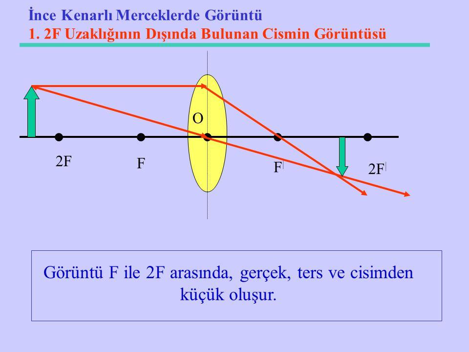 Görüntü F ile 2F arasında, gerçek, ters ve cisimden küçük oluşur.