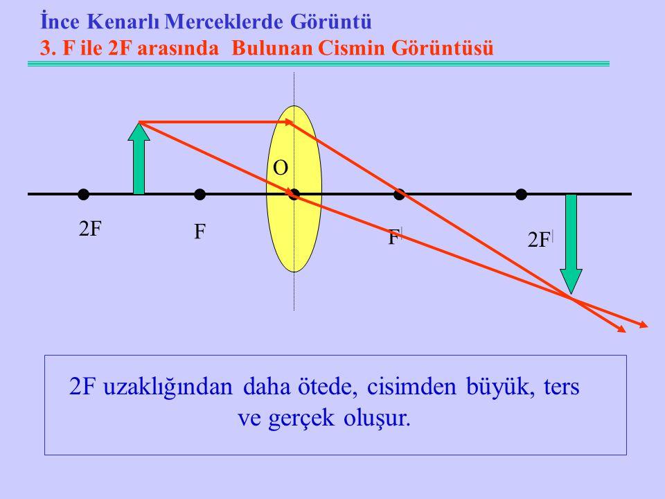 2F uzaklığından daha ötede, cisimden büyük, ters ve gerçek oluşur.