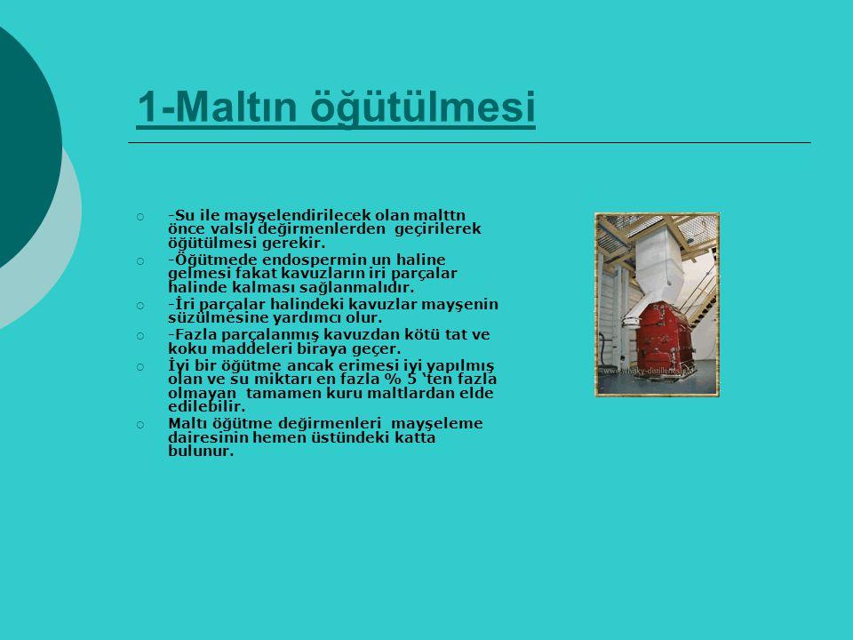 1-Maltın öğütülmesi -Su ile mayşelendirilecek olan malttn önce valsli değirmenlerden geçirilerek öğütülmesi gerekir.