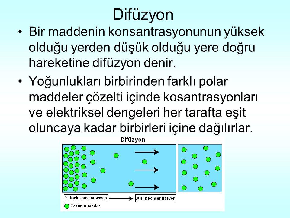 Difüzyon Bir maddenin konsantrasyonunun yüksek olduğu yerden düşük olduğu yere doğru hareketine difüzyon denir.