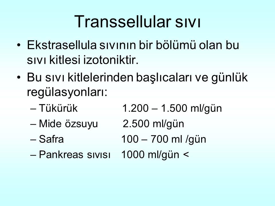 Transsellular sıvı Ekstrasellula sıvının bir bölümü olan bu sıvı kitlesi izotoniktir. Bu sıvı kitlelerinden başlıcaları ve günlük regülasyonları: