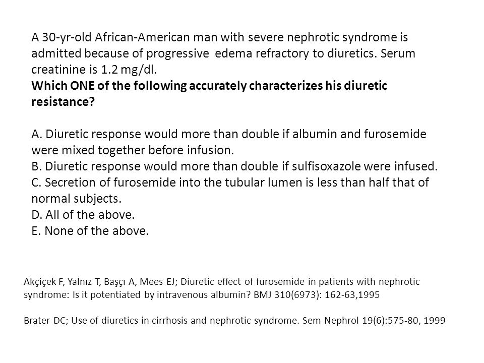 A 30-yr-old African-American man with severe nephrotic syndrome is admitted because of progressive edema refractory to diuretics. Serum creatinine is 1.2 mg/dl.