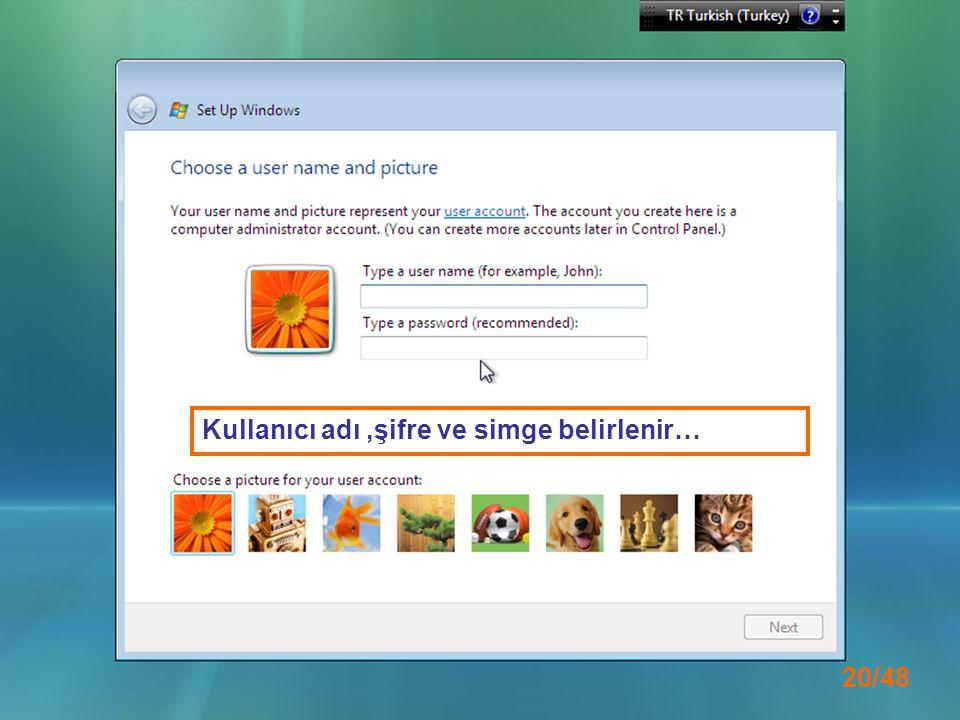 Kullanıcı adı ,şifre ve simge belirlenir…