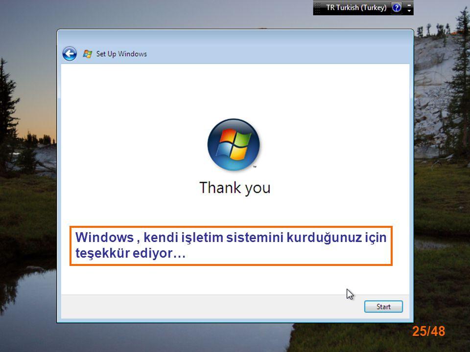 Windows , kendi işletim sistemini kurduğunuz için teşekkür ediyor…