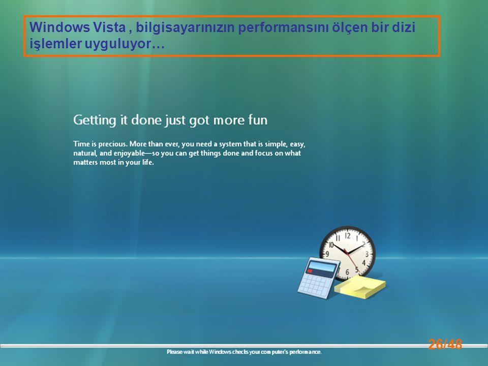 Windows Vista , bilgisayarınızın performansını ölçen bir dizi işlemler uyguluyor…