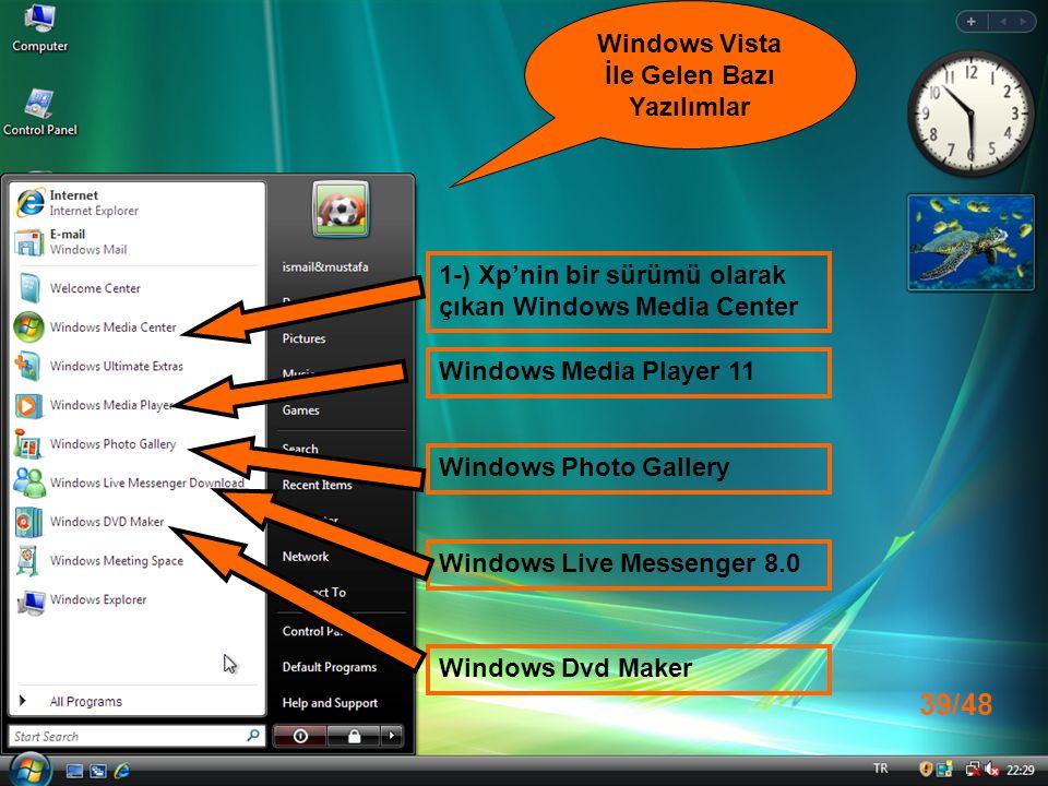Windows Vista İle Gelen Bazı Yazılımlar
