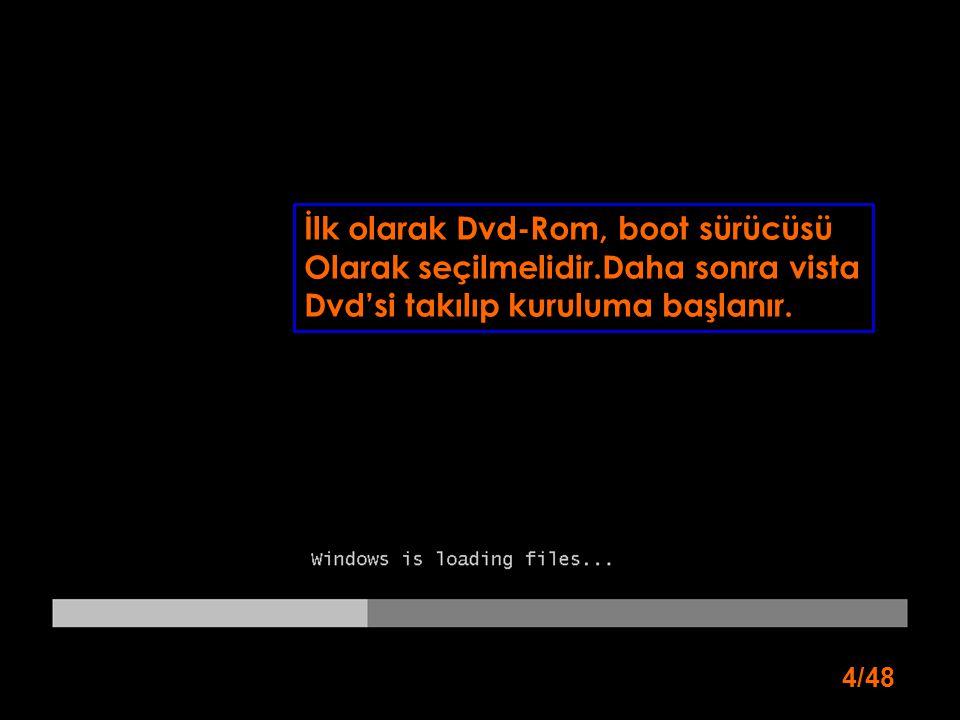 İlk olarak Dvd-Rom, boot sürücüsü Olarak seçilmelidir.Daha sonra vista