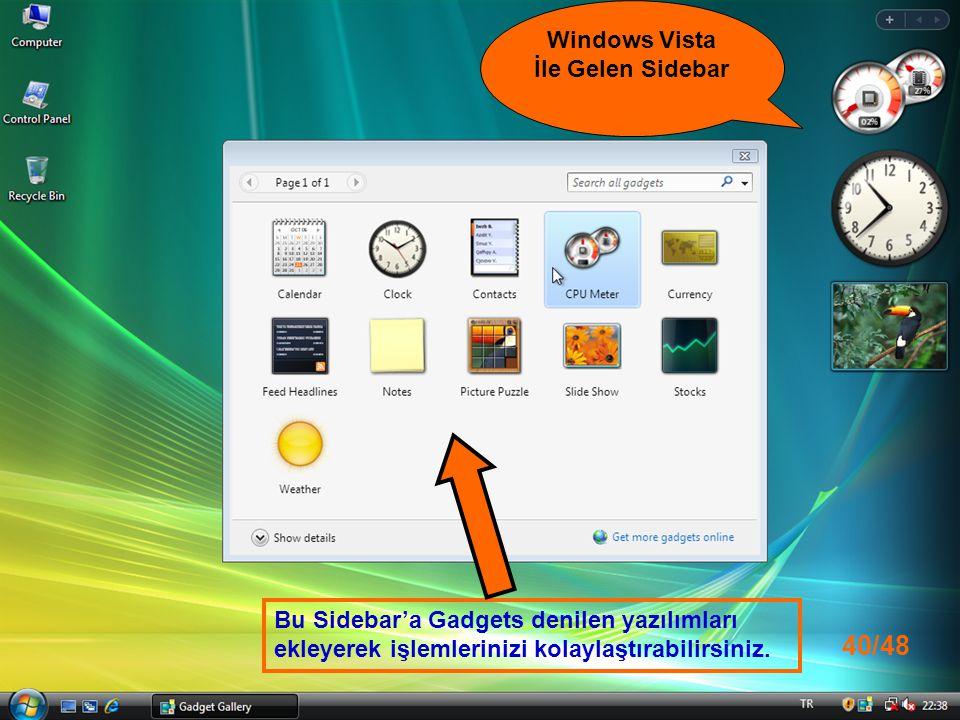 Windows Vista İle Gelen Sidebar