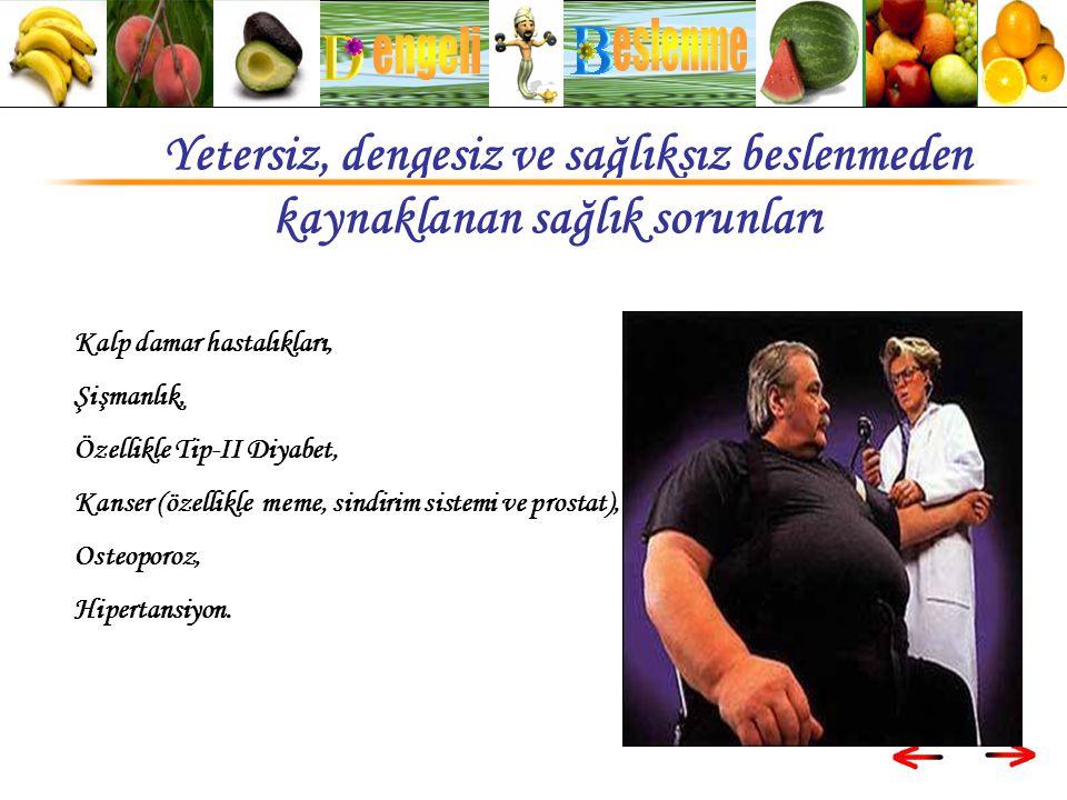 eslenme engeli. Yetersiz, dengesiz ve sağlıksız beslenmeden kaynaklanan sağlık sorunları. Kalp damar hastalıkları,