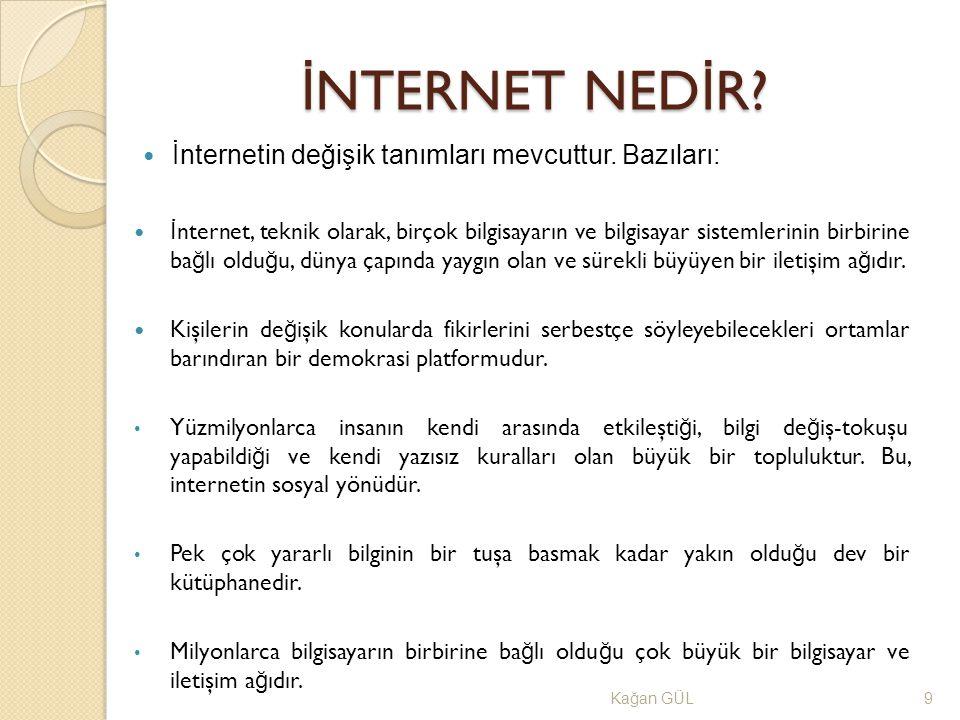 İNTERNET NEDİR İnternetin değişik tanımları mevcuttur. Bazıları: