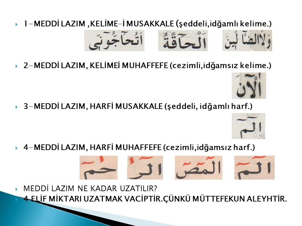 1-MEDDİ LAZIM ,KELİME-İ MUSAKKALE (şeddeli,idğamlı kelime.)