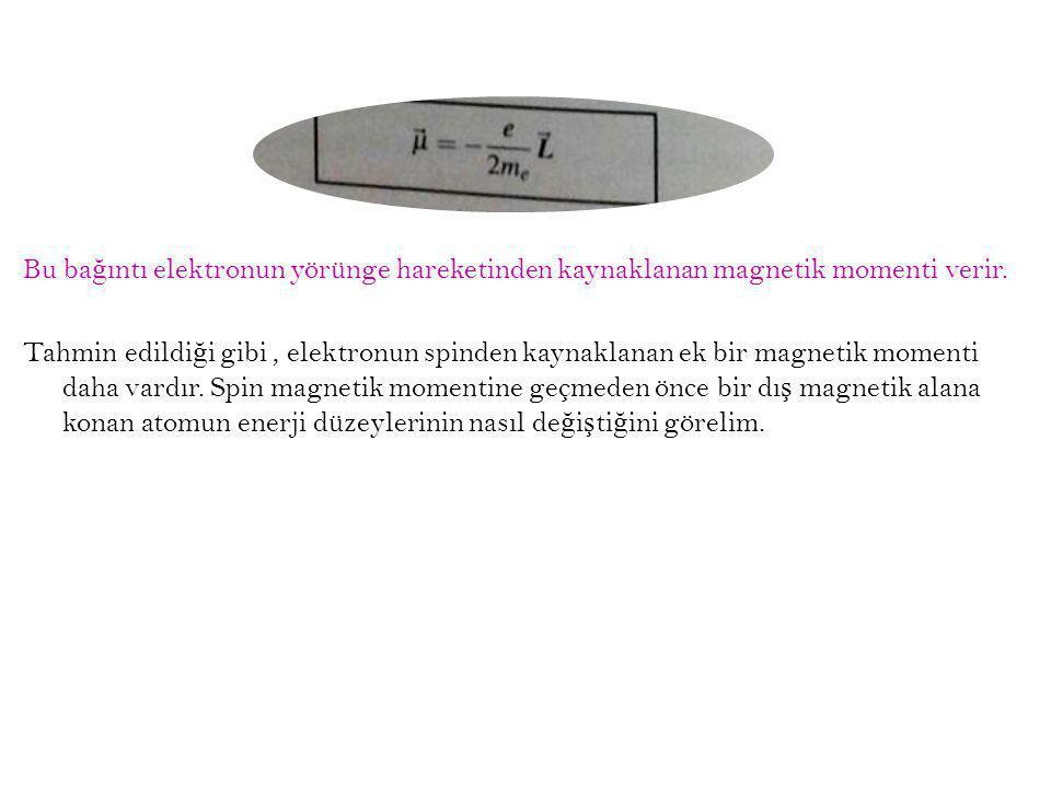 Bu bağıntı elektronun yörünge hareketinden kaynaklanan magnetik momenti verir.