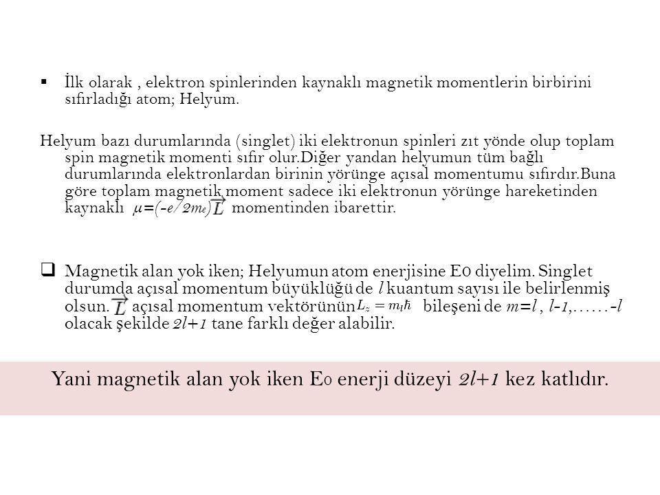 Yani magnetik alan yok iken E0 enerji düzeyi 2l+1 kez katlıdır.